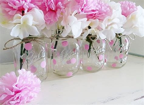 Baby Shower Decor Pink Polka Dot Mason Jar Centerpieces Baby Shower Mason