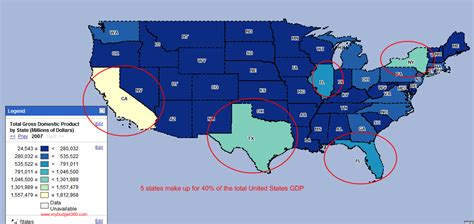 usa map new york california gross domestic product 40 percent of the united states