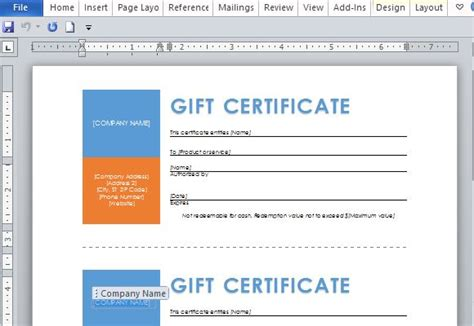 microsoft office gift certificate template free word template for printable gift certificates