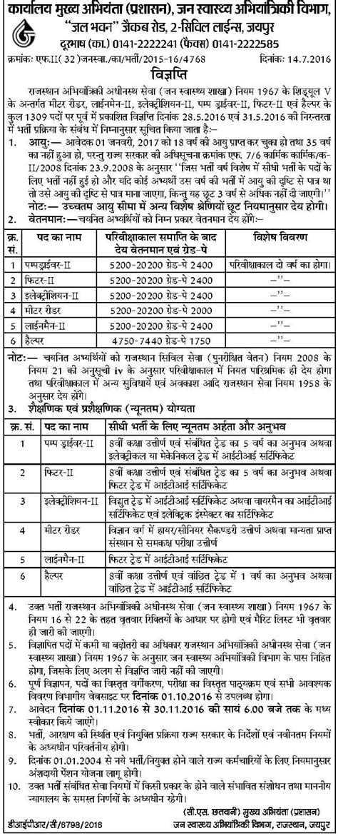 rajasthan medical department jobs 2015 government jobs requirement in rajasthan public health engineering