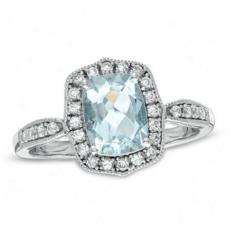 cushion cut aquamarine and lab created white sapphire ring