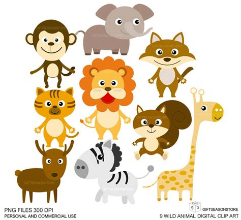 clipart animals 9 animal clip digital clip for by giftseasonstore