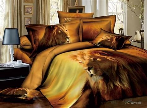 lion comforter set 3d animal print male lion manly bedding set full queen 100