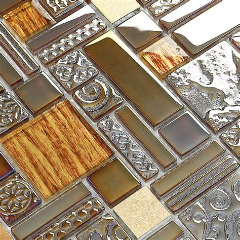 crystal glass mosaic kitchen tile copper aluminum tiles