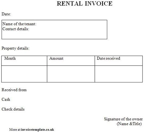 Rental Invoice Template Word by Rental Invoice Template Printable Invoice Template