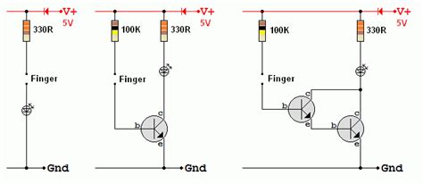 bjt transistor led touch switch