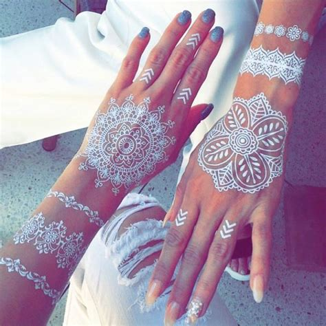 henna inspired temporary tattoo stunning white henna inspired tattoos that look like