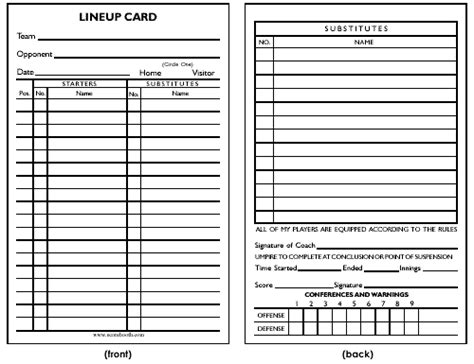 Lineup Card Umpire Template Spreadsheet by Blank Lineup Card Images
