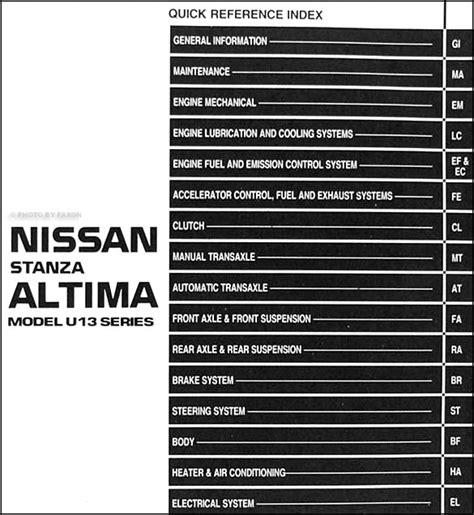 all car manuals free 1993 nissan altima free book repair manuals 1993 nissan stanza altima shop manual original repair service book oem