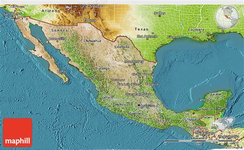 physical map of mexico satellite 3d map of mexico physical outside satellite sea