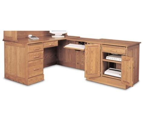 Oak L Shaped Computer Desk Haugen Home Solid Oak L Shaped Computer Desk Ebay