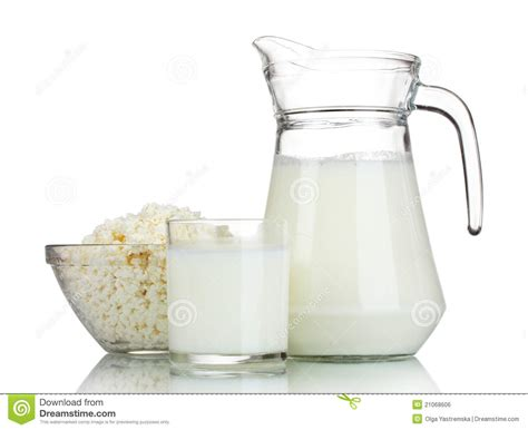 Cottage Cheese From Sour Milk by Sour Cottage Cheese And Milk Royalty Free Stock