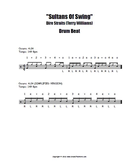 sultans of swing drum sheet music quot sultans of swing quot drum beat free drum lesson dire
