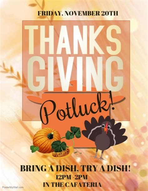 Thanksgiving Template Postermywall Free Thanksgiving Potluck Flyer Templates