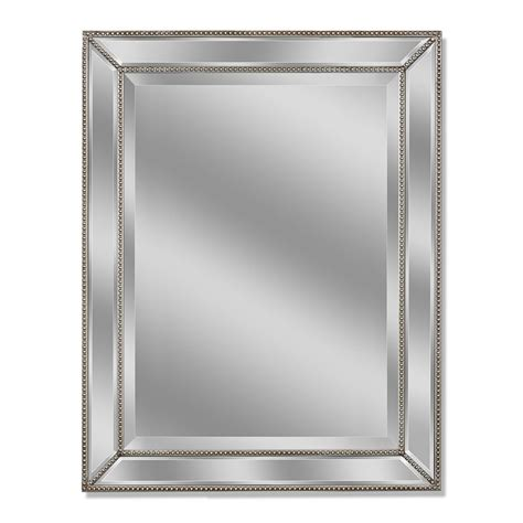 Silver Mirrors For Bathroom Allen Roth 30 In X 40 In Silver Beveled Rectangle Framed Wall Mirror Bathroom