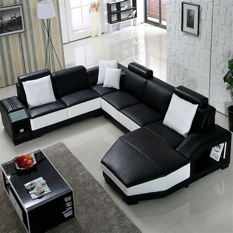 black and white sofa set living room furniture guangzhou black and white leather