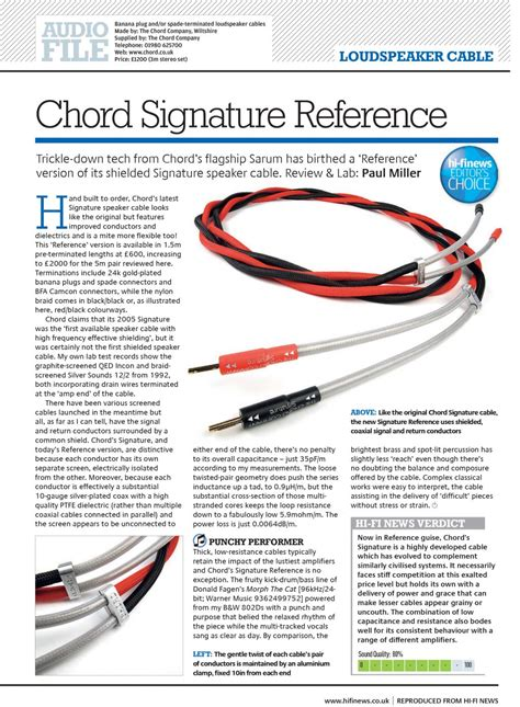 hi fi choice speaker cable reviews product review chord signature reference speaker cable