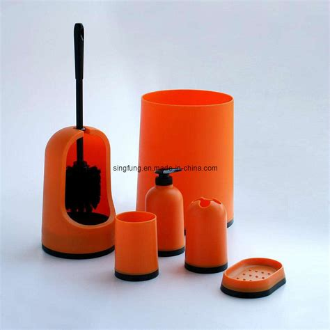 orange bathroom accessories set china bathroom set sbs10 orange china bathroom set