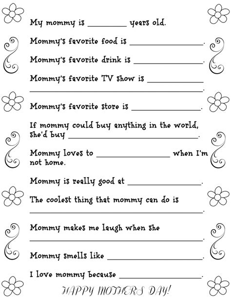 printable happiness questionnaire fun mother s day questionnaire with free printable fun