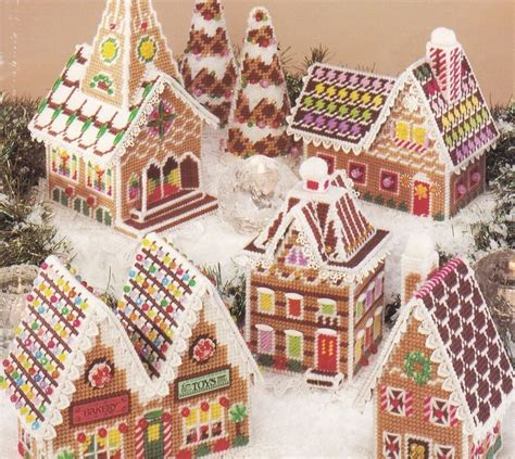 pattern book image gingerbread village plastic canvas pattern book american