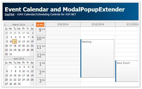 design calendar asp net event calendar and modalpopupextender c asp net