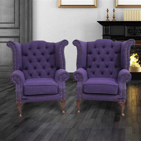 traditional fabric high back sofas 2 x chesterfield purple queen anne high back wing chairs