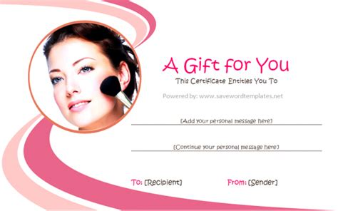 make up gift card template gift certificate templates