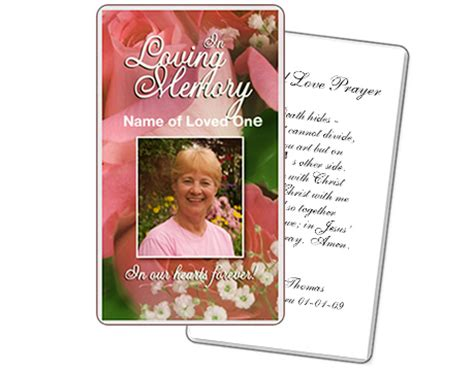 prayer cards for funerals template memorial prayer cards laminated with 5 mil memorialcard
