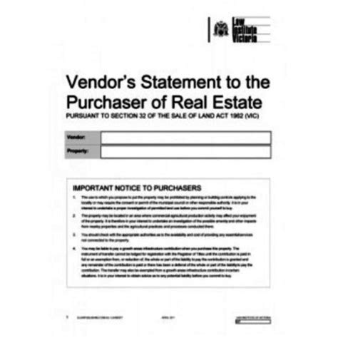 section 32 sale of land section 32 vendors statement melbourne vendor marketing
