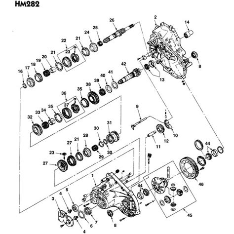 free download parts manuals 1986 pontiac safari transmission control chevrolet and gm hm282 5 fwd speed manual transmission parts illustration
