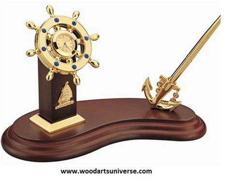 nautical desk accessories nautical anchor pen stand with ship wheel clock wascbg0070