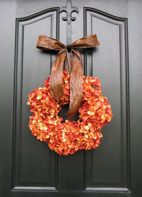 pumpkin wreath fall hydrangeas by two inspire you
