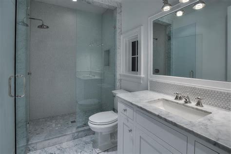 Blue Gray Bathroom Ideas This Traditional White Tile Shower Features A Blue Patterned Apinfectologia