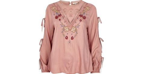 River Island Summer Smock by Lyst River Island Pink Embroidered Tie Sleeve Smock Top