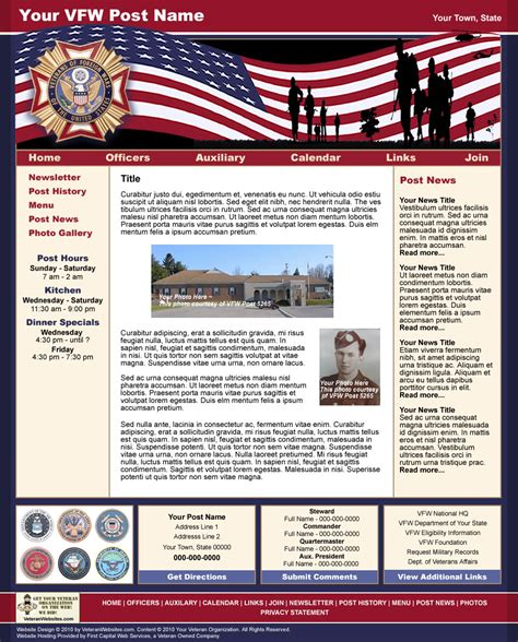 Patriotic Style Website Template 1 Vfw American Legion Newsletter Template