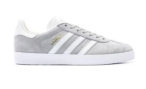 Sepatu Original Adidas Gazelle Leather Grey adidas gazelle originals womens grey white casual leather classic shoes trainers ebay