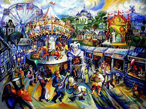 Gemstone Home Decor cubist russian carnival day painting by ari roussimoff