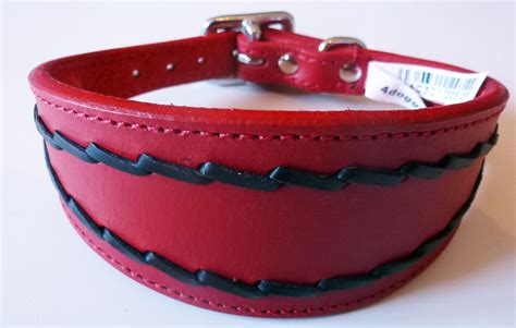 cheap collars oval stitch leather saluki greyhound whippet collar 3 sizes wholesale collars