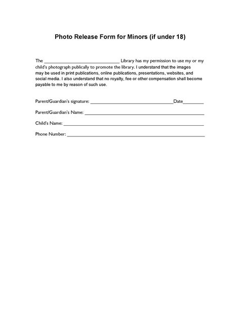 Pdf Release Golfs Moment by Photo Release Form For Minors If 18 Release