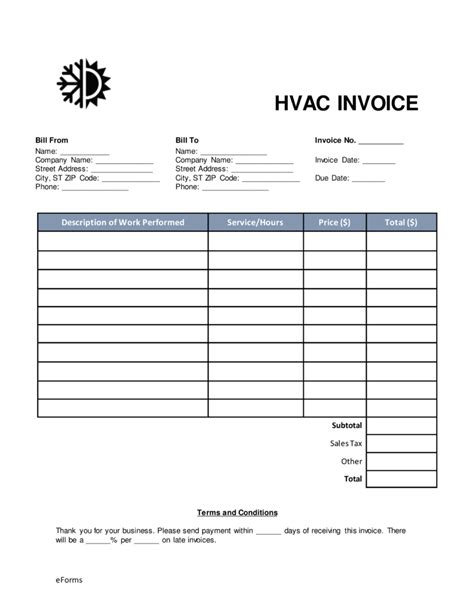 hvac invoice template hvac invoice template form templates