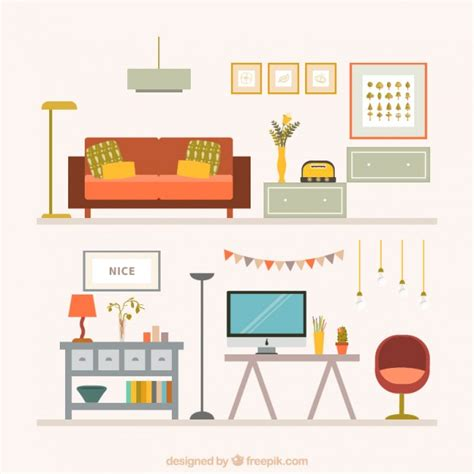 home furniture collection vector free