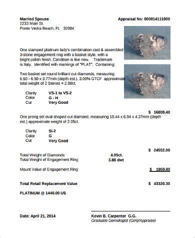 jewelry appraisal form template sle jewelry appraisal form 8 free documents pdf
