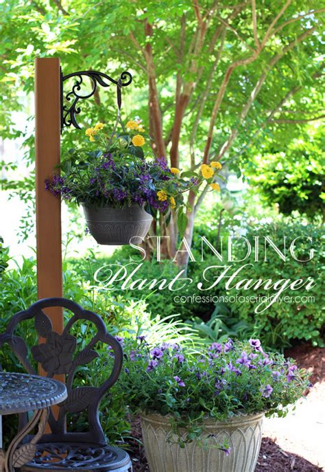 Outside Plant Hangers - diy standing outdoor plant hanger confessions of a