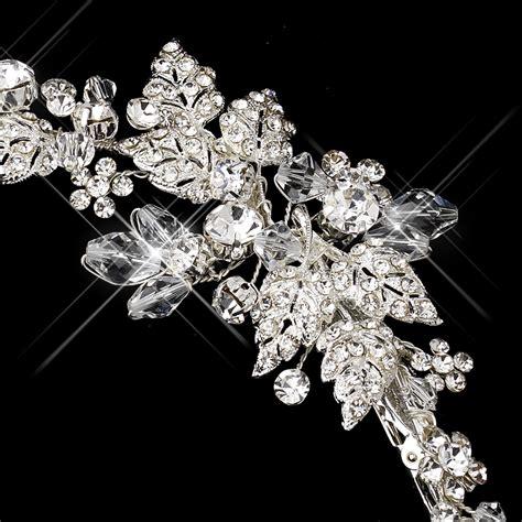 rhinestone hair clips wedding silver side accented crystal rhinestone tiara clip
