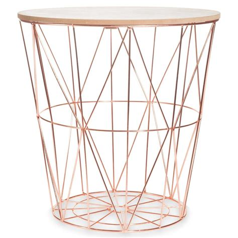 bout de canapé fly zigzag copper metal side table d40cm maisons du monde