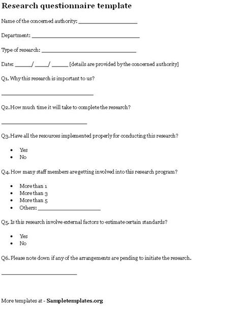 questionnaire template for research template of research