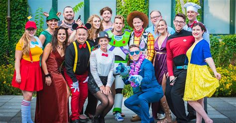 guests dress up in character for disney themed wedding