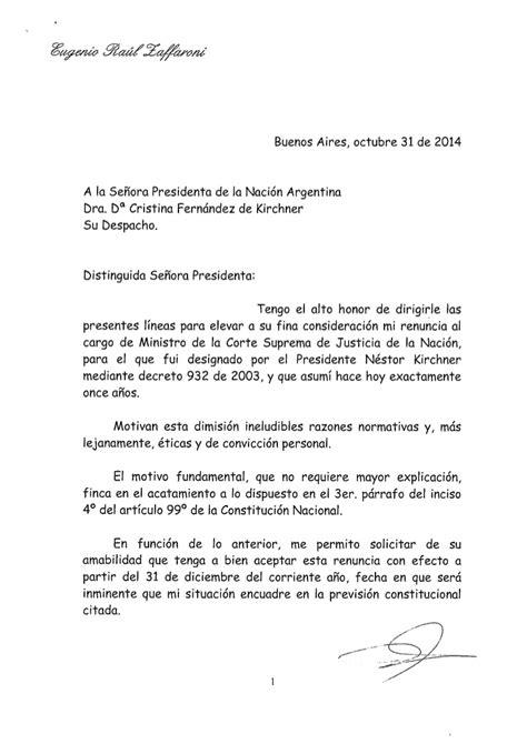 dispensa universitaria carta de renuncia de zaffaroni
