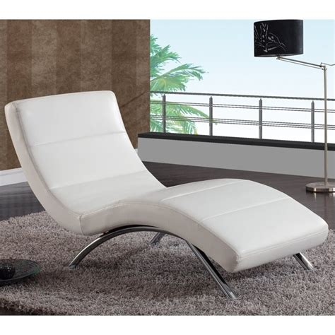 white leather chaise lounge chair global furniture usa r820 white leather w chrome legs