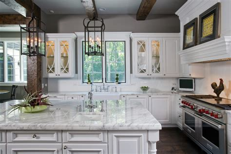 raised ceiling houzz raised panel white cabinet kitchen with oversize island